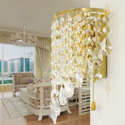 One Bulb Candle Wall Sconce Luxurious Striking Crystal Sconce Light in Gold for Study Room