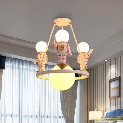 Resin Astronaut Ceiling Pendant Study Room 4 Heads Modern Stylsih Hanging Light in White