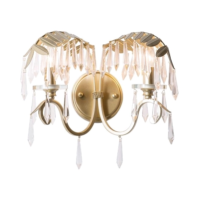 Rustic Leaf Shade Sconce Light Metal 2 Heads Gold Wall Lamp with Crystal for Living Room Bar