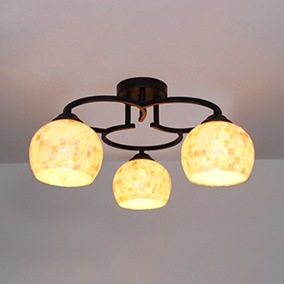 Shell Spherical Semi Flush Mount Light Hotel Cafe 3/5/7 Bulbs Mosaic Style Ceiling Light in Beige