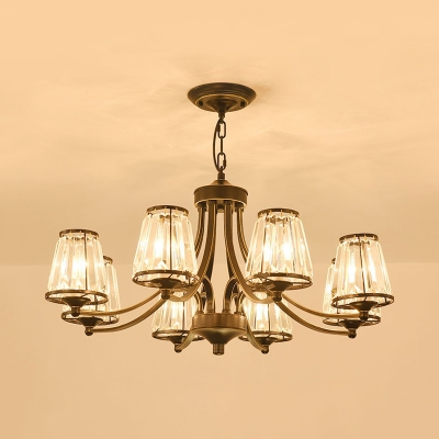 Tapered Shade Villa Chandelier Metal Clear Crystal 3/5/6/8 Lights Pendant Light in Black/Gold