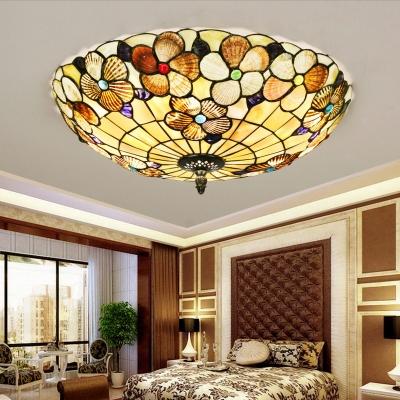 Traditional Style Beige Ceiling Light Desert Rose Shell Flush Mount Light for Living Room Kitchen