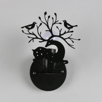 Nordic Black/Green/White Sconce Light Deer & Bird 1 Head Metal Wall Sconce for Living Room