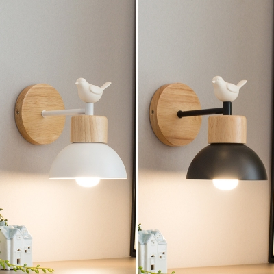 Dome Study Room Wall Light with Resin Bird Wood Single Head Nordic Stylish Sconce Light in Black/White
