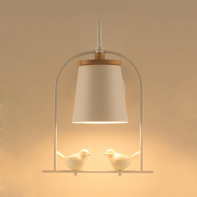 Bell/Bucket Hanging Wall Light 1 Bulb Modern Style Wall Sconce with Resin Bird in Black/White for Office