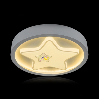 Acrylic Heart/Star Flush Light Lovely Third Gear/White Lighting Ceiling Lamp in White for Kid Bedroom