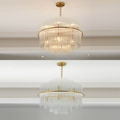 Clear Glittering Crystal Drum Pendant Light Living Room 5 Lights Romantic Chandelier in Gold