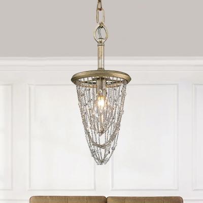 Cone Crystal Corridor Kitchen Chandelier Metal 1/3 Heads Antique Style Pendant Light in Brass