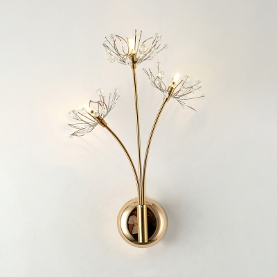 Creative Dandelion Sconce Light Metal 3 Heads Gold Wall Lamp with Glittering Crystal for Bedroom HL540785 фото