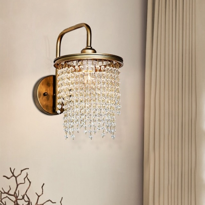 Crystal Beads Drum Wall Light Bedroom Mirror 1/2 Heads Traditional Sconce Light in Gold