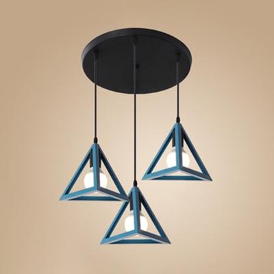 Dining Table Triangle Shade Pendant Light Metal 3 Lights Retro Loft Blue/Green/Red/Yellow Suspension Light