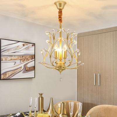 Elegant Style Twig Pendant Light with Crystal Leaf Metal 3 Lights Black/Gold Chandelier for Hotel
