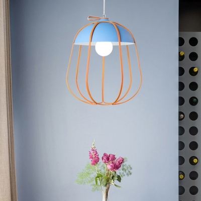Gourd Metal Cage Hanging Pendant Nordic Metal Shade 1 Head Multicolored Drop Light for Dining Room