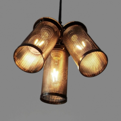 Industrial Cylinder Hanging Light 3 Lights Mesh Screen Pendant Light in Black for Cloth Shop