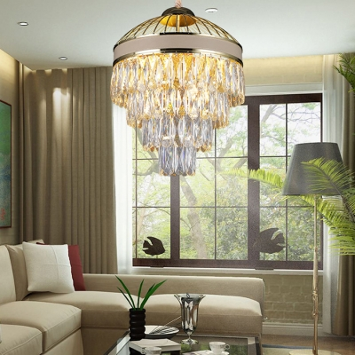 Luxurious Conical Pendant Light Metal Striking Crystal Chandelier for Living Room Study Room