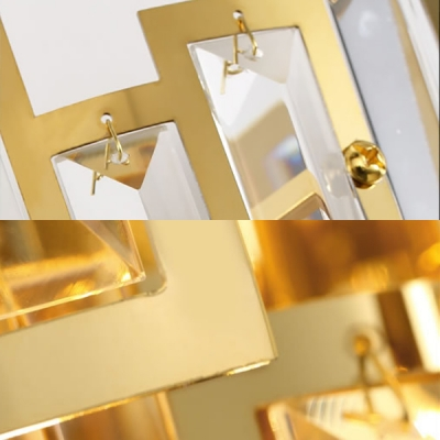 Modern Gold Wall Light 2-Tier 3 Bulbs Metal Sconce Light with Clear Crystal for Living Room