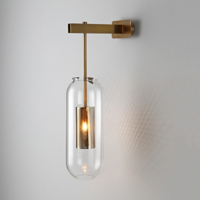 Oblong Clear Glass Wall Lamp Modern 1 Bulb Black/Gold Sconce Lighting with Inner Mesh Cage