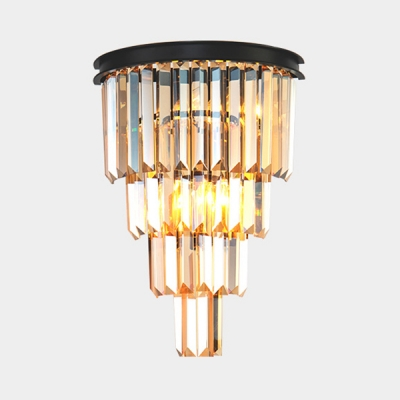 Postmodern Cone Shape Wall Light Amber/Clear/Smoke Crystal Sconce Light for Bedroom Stair