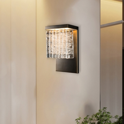 Simple Style Rectangle Wall Light with Clear Crystal Metal Sconce Light in Nickle for Hallway