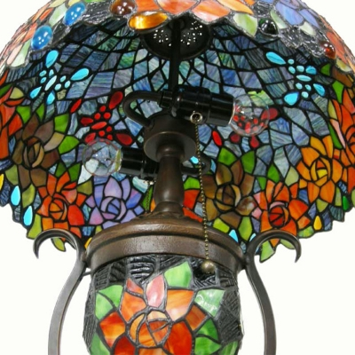Stained Glass Flower/Grape Desk Light Living Room 3 Light Tiffany Rustic Table Lamp with Pull Chain