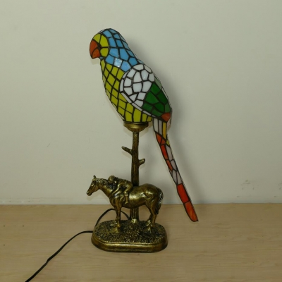 Tiffany Parrot Shaped Table Light with Horse 1 Head Stained Glass Table Lamp in Red/Yellow for Bar