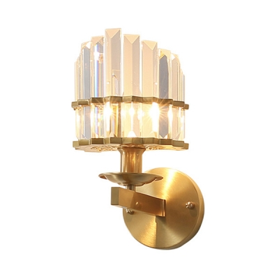 Vintage Style Black/Gold Wall Light Candle Shape Metal Wall Lamp with Liner Crystal for Corridor
