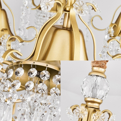 Wrought Iron Bell Chandelier with Crystal 3 Lights Elegant Style Hanging Light in Gold for Dining Room