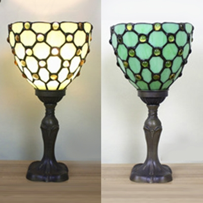 Tiffany Vintage Table Light Single Light Stained Glass Night Lamp in Green/Red/Yellow for Child Bedroom