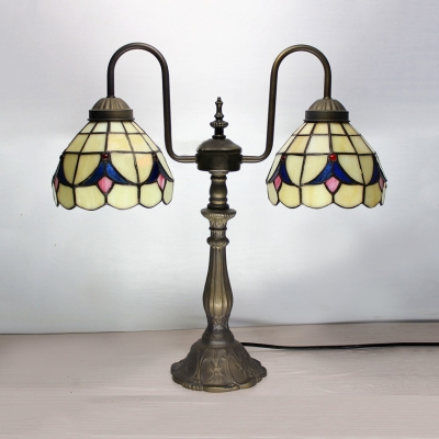 Antique Tiffany Beige Table Light Dome Shade Two Light Art Glass Table Lamp for Bedroom Hotel