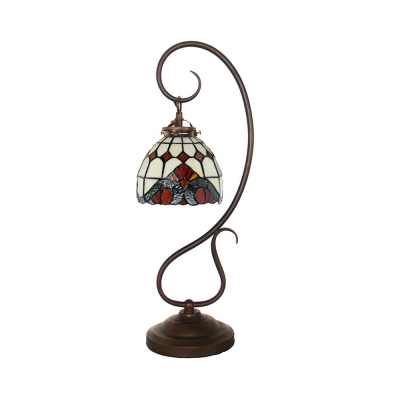 1 Light Desk Light with Baroque/Bead/Lotus Tiffany Stylish Stained Glass Table Light for Study Room
