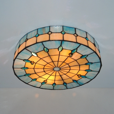 Stained Glass Round Ceiling Light 3 Lights Antique Style Flush Mount Light in Blue/Yellow for Bedroom