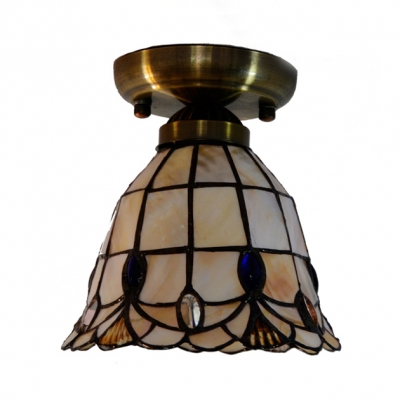 Classic Tiffany Brass Flush Ceiling Light Bell Shade Single Head Art Glass Ceiling Lamp for Hallway