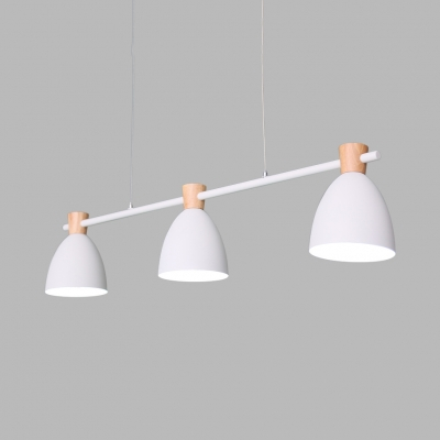 3 Lights Domed Island Chandelier Nordic Simple Metal Island Light in Gray/Green/White for Kitchen