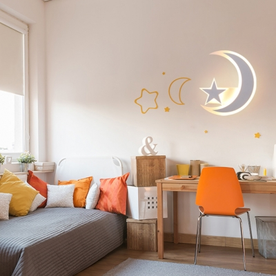 Acrylic Star&Moon Wall Lamp Modern Style LED Sconce Light with White/Yellow Lighting for Kitchen