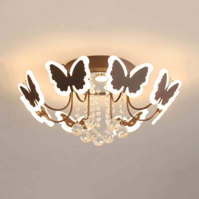 Acrylic Butterfly LED Ceiling Light with Crystal Ball 6/8 Light Pretty Semi Flush Light in Coffee/Gold for Girls Bedroom