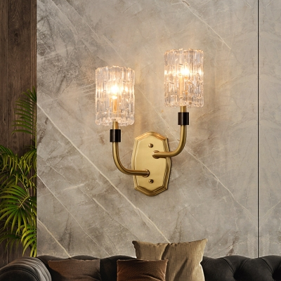 Antique Stylish Candle Wall Lamp Metal 1/2 Lights Brass Wall Sconce with Crystal Shade for Stair