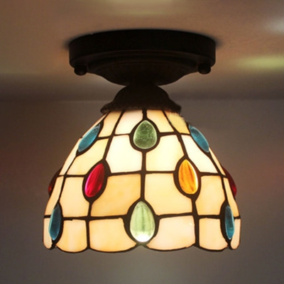 Beige/Blue Bowl Ceiling Fixture 1 Head Tiffany Style Art Glass Flush Ceiling Light for Coffee Shop