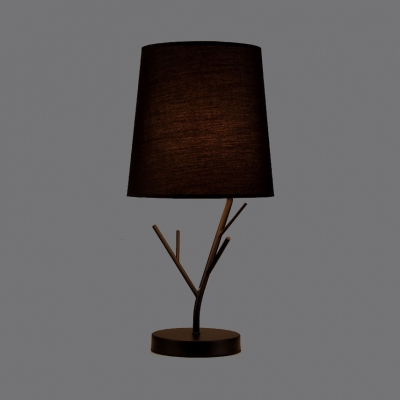 Branch Base Standing Desk Lamp Modern Fabric Shade 1 Light Table Lamp in Black/White