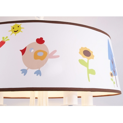 Cartoon Animal Pendant Light with Drum Shade 3/5 Heads Fabric Chandelier in White for Kid Bedroom
