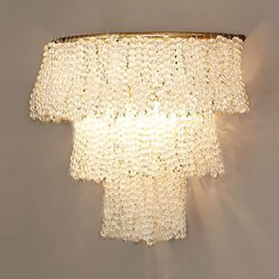 Classic Stylish Wall Light 2 Bulbs Clear Crystal Bead Sconce Light for Bedroom Living Room