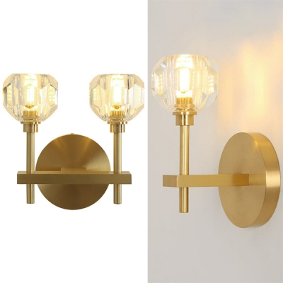 Dinging Room Torch Sconce Light Metal 1/2 Lights Simple Style Gold Wall Light with Clear Crystal