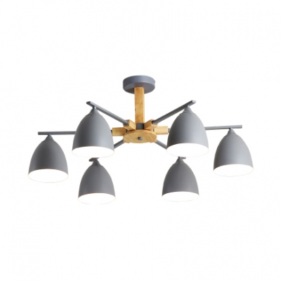 Domed Living Room Ceiling Pendant Metal 3/6 Lights Nordic Stylish Chandelier in Gray/Green/White
