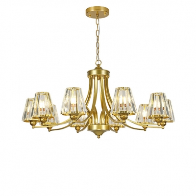 Elegant Style Tapered Shade Chandelier Metal 8/10 Lights Gold Hanging Lamp for Living Room