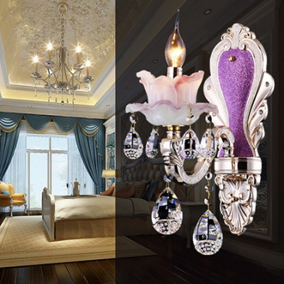 European Style Candle Wall Light with Teardrop Crystal Glass 1/2 Lights Purple Wall Lamp for Restaurant