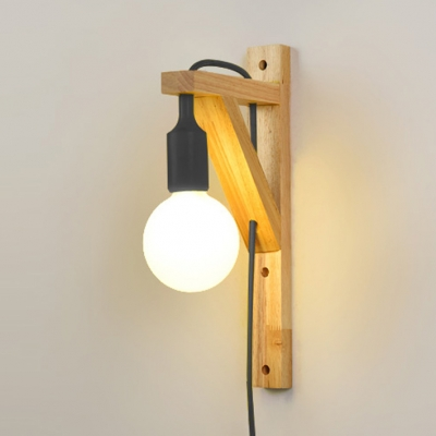 Exposed Bulb Wooden Hanging Wall Sconce Asian Style 1 Light Wall Lamp in Black/Red/White/Yellow