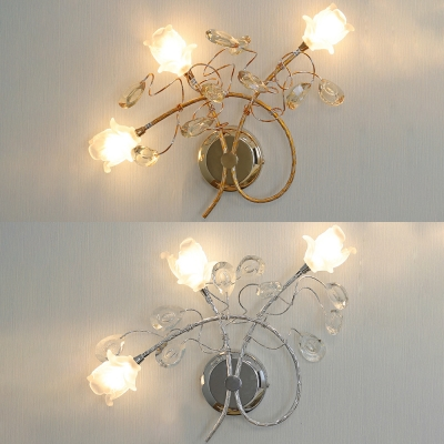 Gold/Silver Blossom Wall Sconce with Crystal Leaf Contemporary Metal Wall Lamp for Dining Room