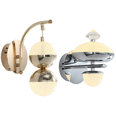 Gold Silver Hanging Wall Light Modern Style Metal Crystal Small Wall Lamp For Corridor Bedroom Beautifulhalo Com