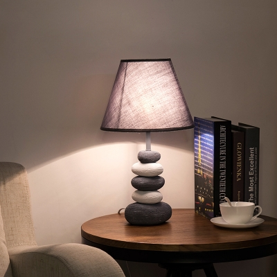 Gray Tapered Shade Table Lamp Nordic Style Fabric Single Light Desk Lamp with Pebble Base