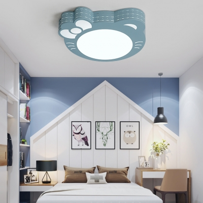 Kitty Shape Ceiling Mount Light Lovely Metal LED Flush Light in Warm/White for Girls Bedroom