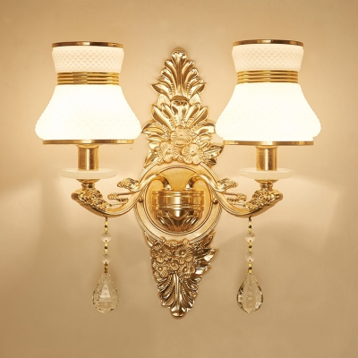 Lattice Urn Dining Room Wall Light with Crystal Metal 1/2 Lights Elegant Style Sconce Light in Gold Finish